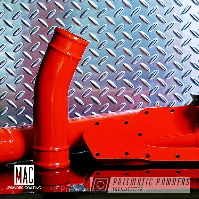 Powder Coating: Automotive,Powder Coated Cummins Engine Parts,Custom Auto Parts,Engine Components,Single Coat Powder Coat Application,Hemi Orange PSB-5898