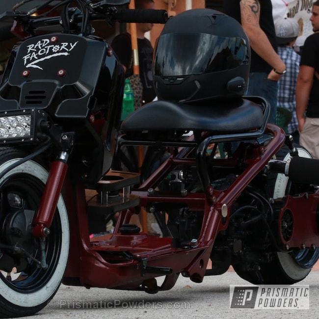 Powder Coating: GLOSS BLACK USS-2603,Motorcycles,Hunters Red PMB-1335