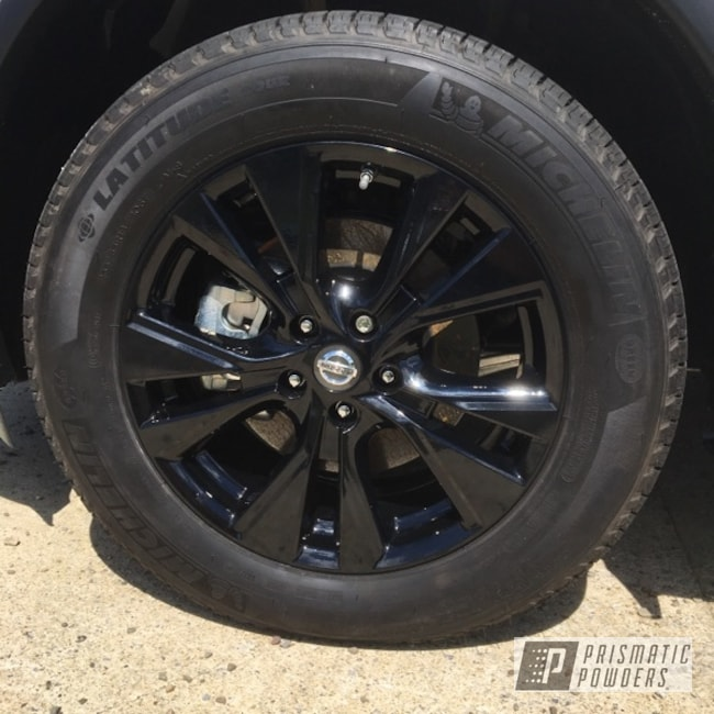 Powder Coating: Wheels,Automotive,Clear Vision PPS-2974,Two Stage Application,Custom Wheels,Ink Black PSS-0106,Clear Top Coat,Nissan Wheels