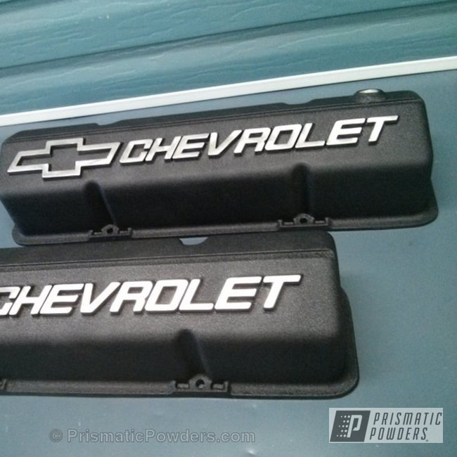 Powder Coating: Single Powder Application,Custom Engine Covers,Automotive,Engine Components,Desert Nite Black PWS-2859,Textured,Valve Cover,Chevy Valve Cover