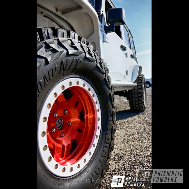 Powder Coating: Wheels,Automotive,Clear Vision PPS-2974,Custom Wheels,LOLLYPOP RED UPS-1506,custom bumper,Clean White PSS-4950,Jeep