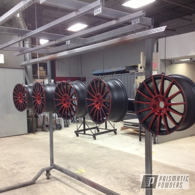 Powder Coating: Wheels,BLACK JACK USS-1522,Super Dust Orange PPB-5013,orange and black powder coated wheel