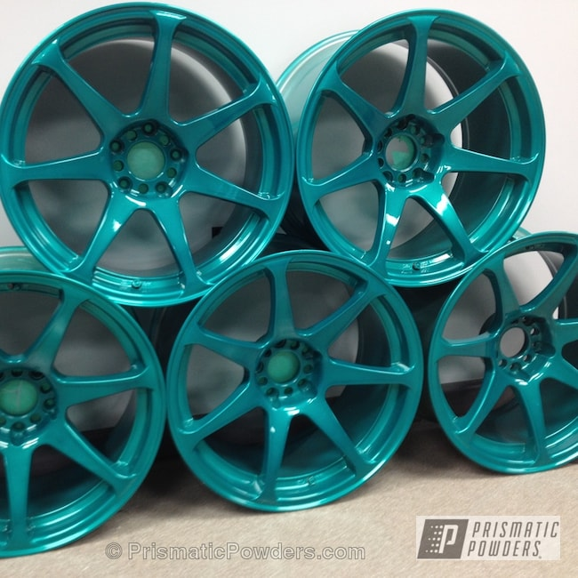 Powder Coating: AQUA CLEAR UPS-1680,Wheels,Heavy Silver PMS-0517,Powder Coated Honda Civic Wheels