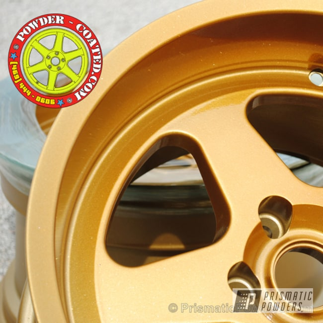 Powder Coating: Flaming Gold PPB-4698,Wheels,gold powder coated wheels,Sleet Gold PMB-4674