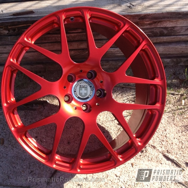 Powder Coating: Wheels,SUPER CHROME USS-4482,chrome,Anodized Red PPB-5936,Anodized-Red-Coated-Wheel