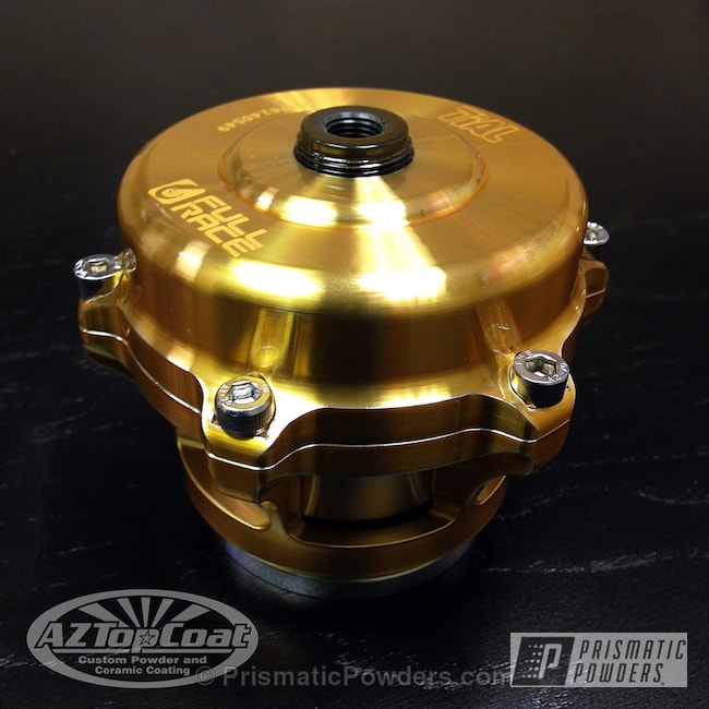 Auto Part Done In Our Transparent Gold Powder Coat