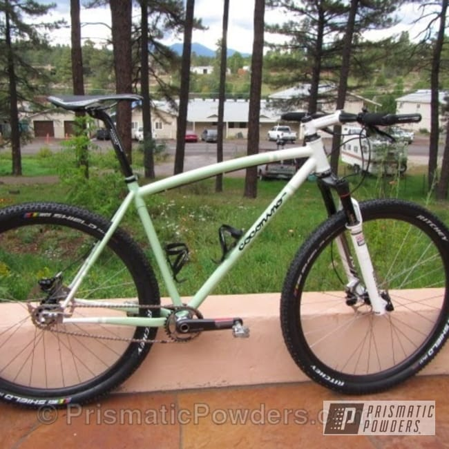 Powder Coating: Custom,RAL 6019 RAL-6019,Bicycles,Clear Vision PPS-2974,RAL 9003 RAL-9003,White,Bike,powder coating,powder coated,Prismatic Powders,Frame,Coconino Cycles