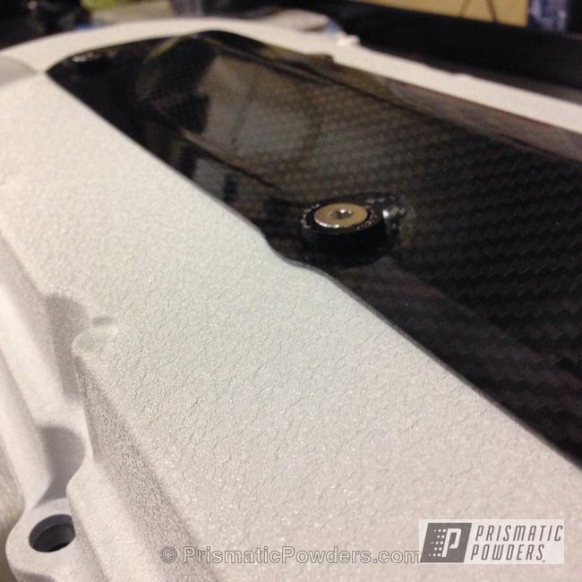 Powder Coating: Custom,Automotive,White,Desert White Wrinkle PWS-2763,powder coating,powder coated,Prismatic Powders,carbon fiber,Mitsubishi Evolution X Valve Cover,Valve Cover
