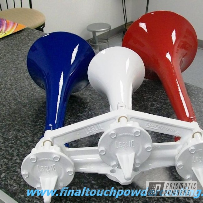 Powder Coating: Custom,Red Wheel PSS-2694,train horns,RAL 5010 Gentian Blue,White,Red,Polar White PSS-5053,powder coating,Blue,powder coated,Prismatic Powders,Miscellaneous