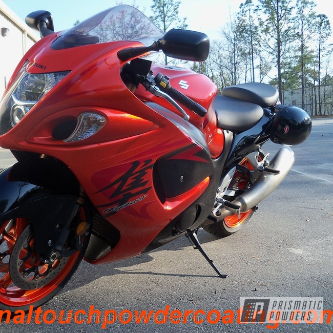 Powder Coating: Clear Vision PPS-2974,Motorcycles,Wheels matched to paint,Hot Orange Sparkle PMB-6311