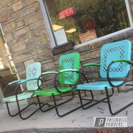 Powder Coating: Custom,Chairs,RAL 6018 Yellow Green,Green,powder coating,Blue,Teal,powder coated,Prismatic Powders,RAL 6019 PastelGreen,RAL 6027 Light Green,Furniture