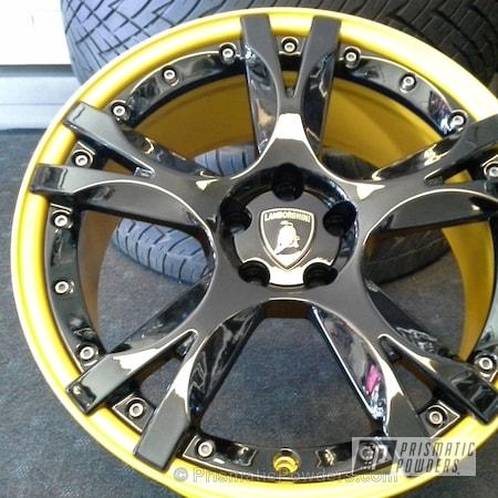 Powder Coating: Wheels,Custom,Yellow,Yamaha Yellow PMB-5654,Black,Ink Black PSS-0106,Lamborghini Wheels,powder coating,powder coated,Prismatic Powders