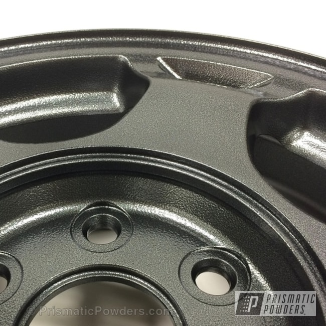 Powder Coating: Wheels,Custom,Automotive,Black,powder coating,Ironstone Silver Satin PLB-3144,powder coated,Prismatic Powders,Textured,texture