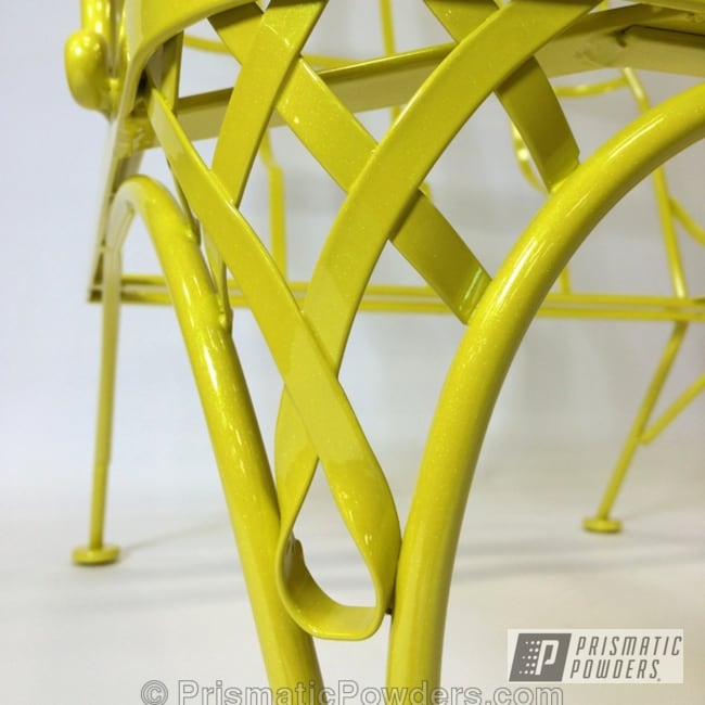 Powder Coating: Custom,Yellow,powder coating,Spring Yellow PSS-0118,powder coated,Prismatic Powders,Emerald Ice PPB-5112,Outside Furniture,chair,Furniture
