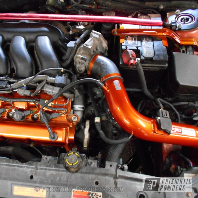 Powder Coating: Custom,Automotive,Clear Vision PPS-2974,Valve Covers,Air Intake,powder coating,Mazda,powder coated,Prismatic Powders,Orange,Valve Cover,Illusion Rootbeer PMB-6924