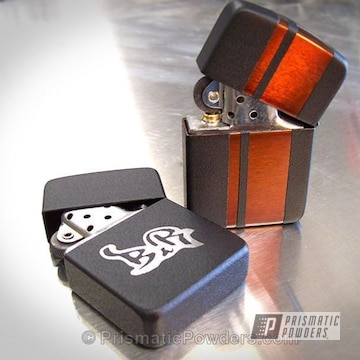 Custom Zippo Lighter Coated In A Black Satin Texture And Transparent Copper