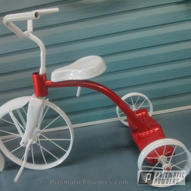 Powder Coating: Bicycles,Clear Vision PPS-2974,Illusion Red PMS-4515,Three Powder Application,Tricycle,Clear Top Coat,Snowcone White PSS-4369