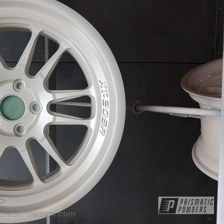 Powder Coating: Wheels,Custom,Clear Vision PPS-2974,Pearl White PMB-4364,White,powder coating,powder coated,Prismatic Powders,Cosmis Wheels RX8