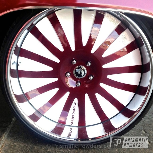 Powder Coating: Wheels,Custom,Clear Vision PPS-2974,Harley Burgundy PMB-5796,Red,White,powder coating,Two Tone Wheels,powder coated,Prismatic Powders