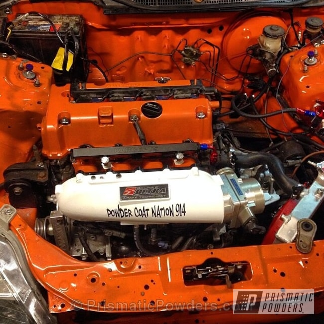 Powder Coating: Custom,Automotive,White,Ford Racing Engine Blue,powder coating,Engine Components,powder coated,Prismatic Powders,Gloss White PSS-5690,Orange,Striker Orange PPS-4750,k20