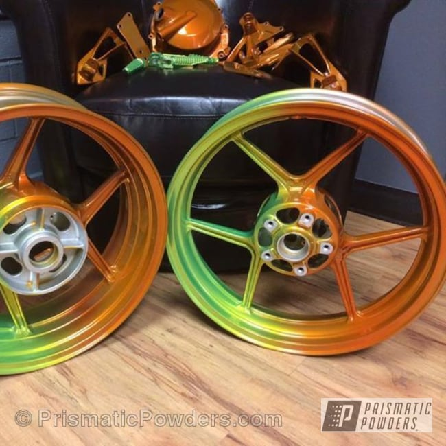 Powder Coating: Wheels,Custom,picked by customer,Orange Tangelo PPB-2324,powder coating,powder coated,Custom 2 Coats,Fade,Shocker Yellow PPS-4765,orange,SUPER CHROME USS-4482,chrome,3 Color process,Prismatic Powders,green,yellow