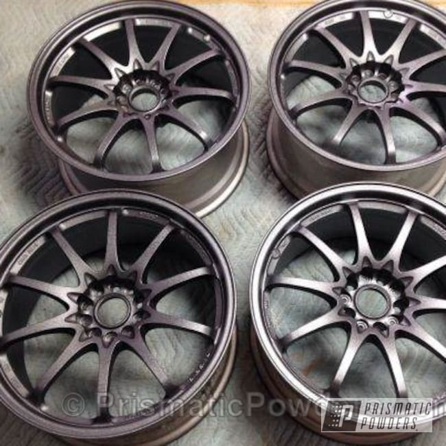 Powder Coating: Wheels,Custom,Silver,Volk CE28,powder coating,powder coated,Prismatic Powders,Silver Splatter PWB-3044