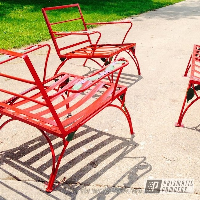 Powder Coating: Custom,Tractor Green PSS-4517,powder coating,Illusion Red PMS-4515,powder coated,Prismatic Powders,Patio Set,Sinbad Purple PSS-1676,Furniture