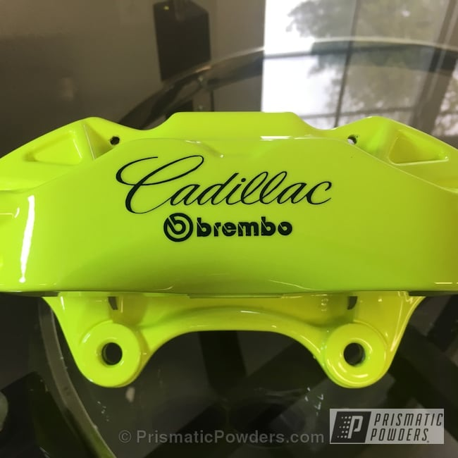 Powder Coating: Automotive,Clear Vision PPS-2974,Cadillac Script,Neon Yellow PSS-1104,Clear Top Coat,Brembo Brake Calipers