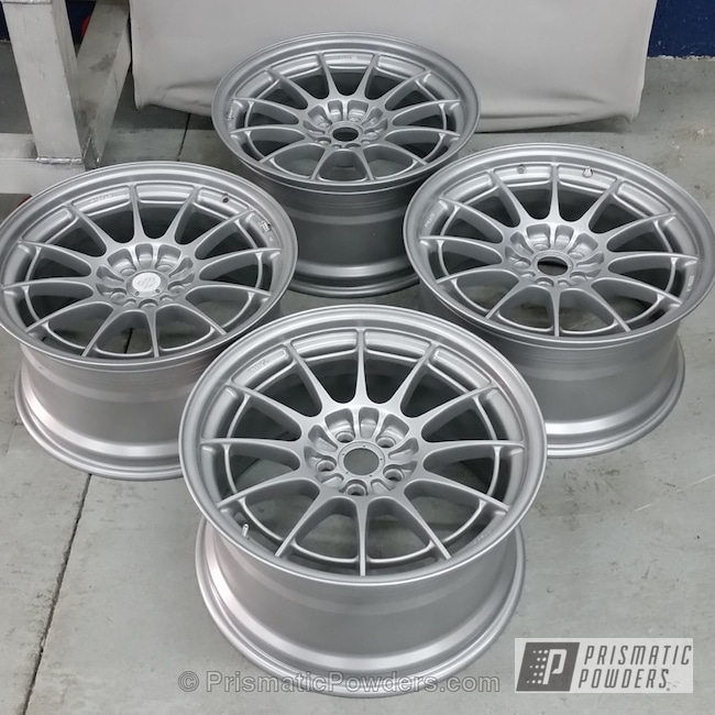 Powder Coating: Wheels,Scion FR-S with Enkei NT03's,owners are Miami Performance Inc,Mystery Silver PMB-5020