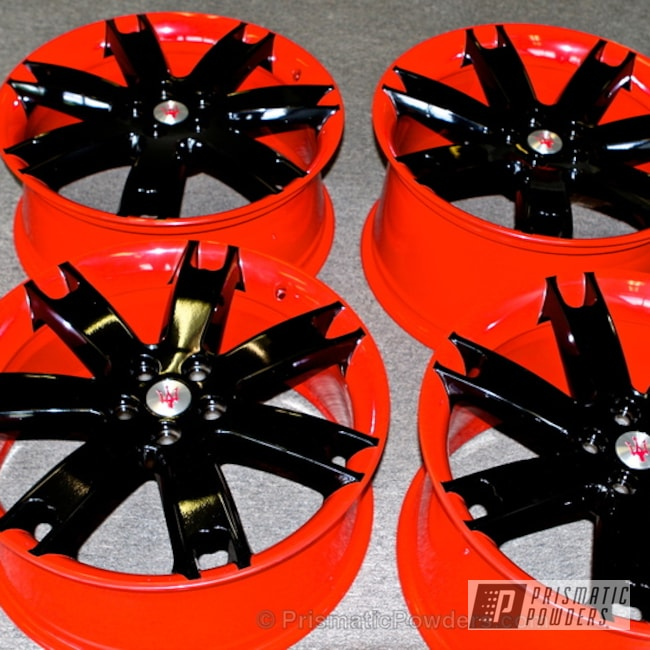 Wheels In A Two Toned Black Metallic And Fire Red Powder Coat
