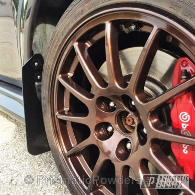 Powder Coating: Wheels,Custom,Lazer Rootbeer PMB-4225,wheel,rootbeer,powder coating,Evo rims,powder coated,Prismatic Powders,brown