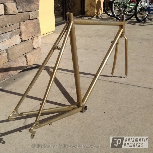 Powder Coating: Flaming Gold PPB-4698,Bicycles,Heavy Silver PMS-0517,Blue,powder coated,Magnum Blue Sparkle PPB-5078,Bicycle Frame,Gold,Team Fuji Bicycle Frame