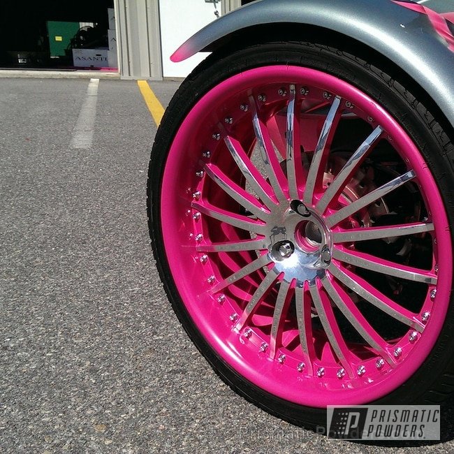 Powder Coating: Motorcycles,Breast Cancer Memorial Bike,Lazer Polka Dot Pink PMB-2340