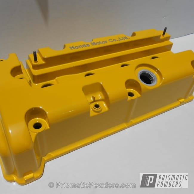 Powder Coating: Automotive,Clear Vision PPS-2974,Yellow,powder coated,Valve Cover,Hot Yellow PSS-1623,k20