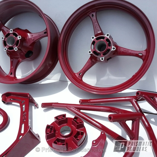 Powder Coating: Wheels,Maroon Spice PMB-4200,powder coated,Maroon,Motorcycles,GSXR parts
