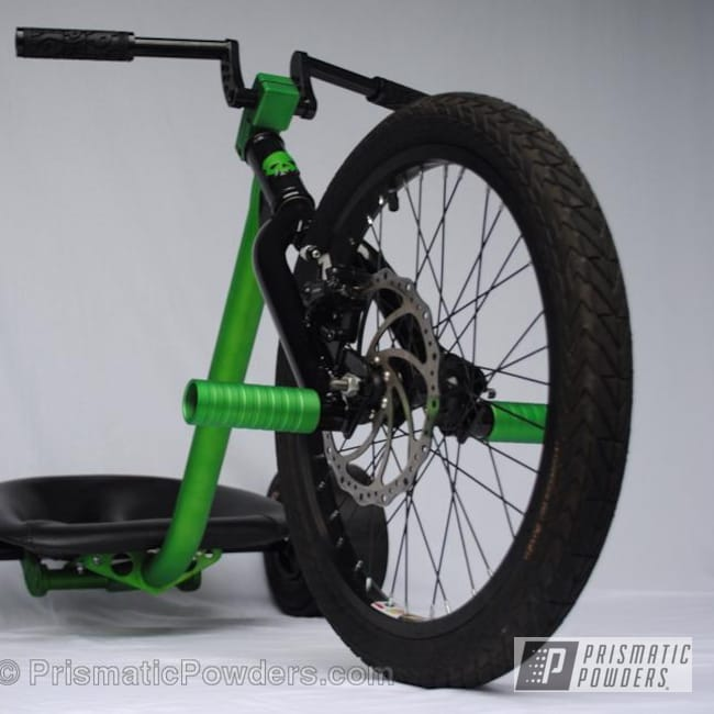 Powder Coating: Bicycles,Ink Black PSS-0106,Green,Psycho Green PPB-4658,Tricycle,powder coated,Casper Clear PPS-4005
