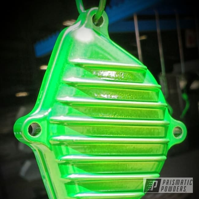 Powder Coating: Custom,Clear Vision PPS-2974,Energy Green PSB-6669,Green,powder coating,powder coated,Prismatic Powders,Motorcycles,Stambaugh