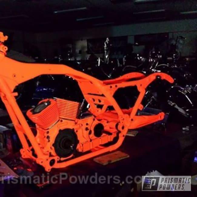 Powder Coating: Road glide,powder coating,Illusion Lite Blue PMS-4621,powder coated,Prismatic Powders,Custom Motorcycle,Motorcycles,Striker Orange PPS-4750,Glowbee Clear PPB-4617