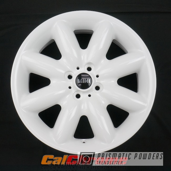 Powder Coating: Single Powder Application,Wheels,Automotive,Custom Wheel,Cloud White PSS-0408,Solid Tone,Mini Cooper Wheels