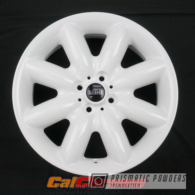 Powder Coating: Single Powder Application,Wheels,Automotive,Custom Wheel,Cloud White PSS-0408,Solid Tone,Mini Cooper Wheels
