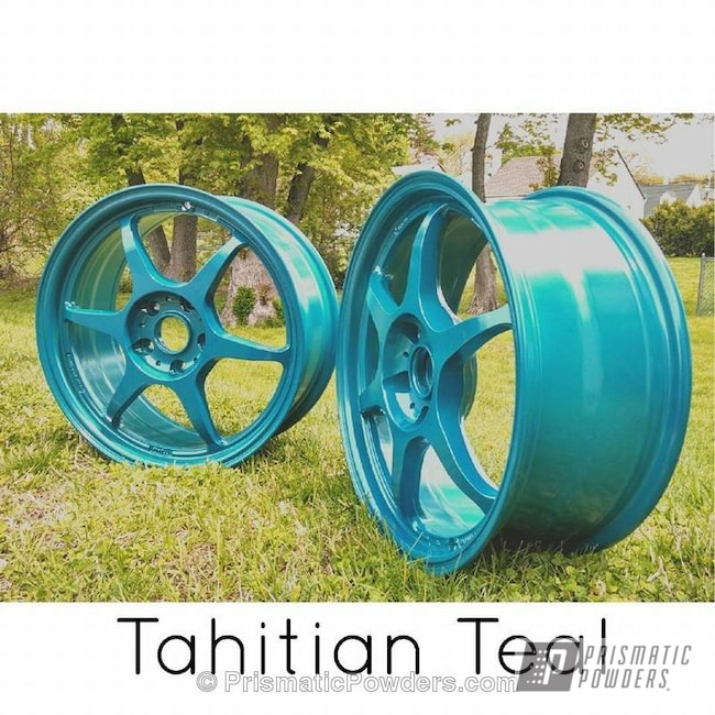 Powder Coating: Wheels,Custom,teal,Tahitian Teal PMB-1250,powder coating,powder coated,Prismatic Powders