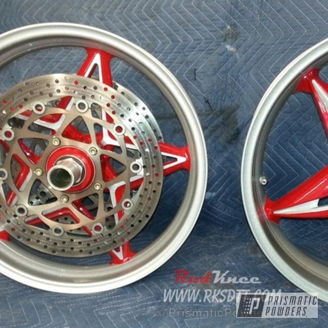 Powder Coating: Wheels,York Red PSB-5329,Ultra Blue Sparkle PPB-5004,MV Agusta Wheels
