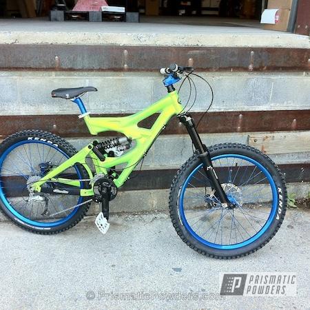 Powder Coating: Bicycles,ROYALTON BLUE UPB-2082,Shocker Yellow PPS-4765