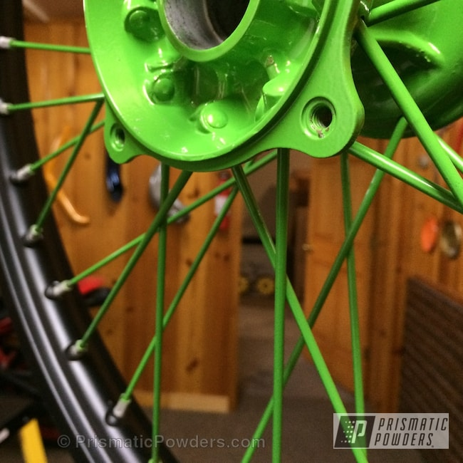 Powder Coating: BLACK JACK USS-1522,Designer Green PMB-5343,Motorcycles,Dirt Bike