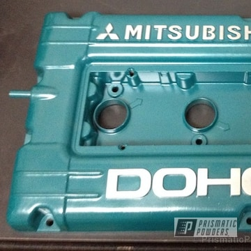 Mitsubishi Dohc Valve Cover In Our Peacock Sparkle Powder Coat
