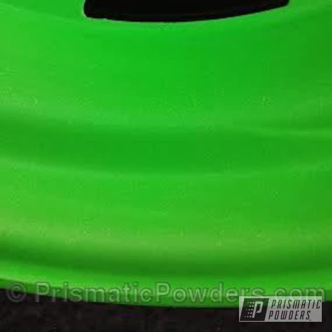 Powder Coating: Wheels,Limelite PMB-0869,powder coating,powder coated,green wheels,Prismatic Powders,Emerald Ice PPB-5112