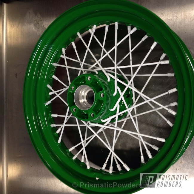 Powder Coating: Wheels,Green White Wheels,powder coating,powder coated,Prismatic Powders,Kelly Green PSS-4466