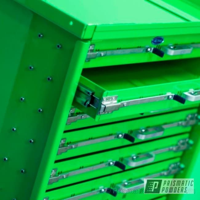 Powder Coating: tool box,powder coating,powder coated,Prismatic Powders,Neon Green PSS-1221,Miscellaneous