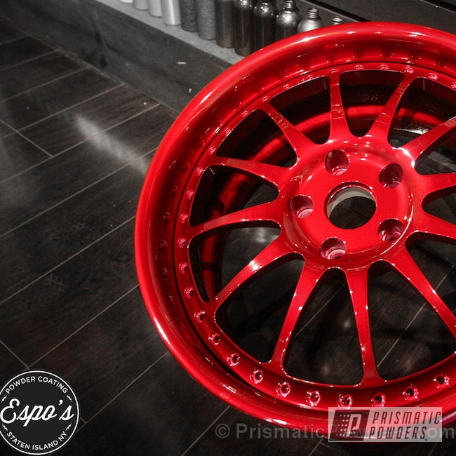 Powder Coating: Wheels,LOLLYPOP RED UPS-1506,Blood Red powder coating,Crushed Silver PMB-1544