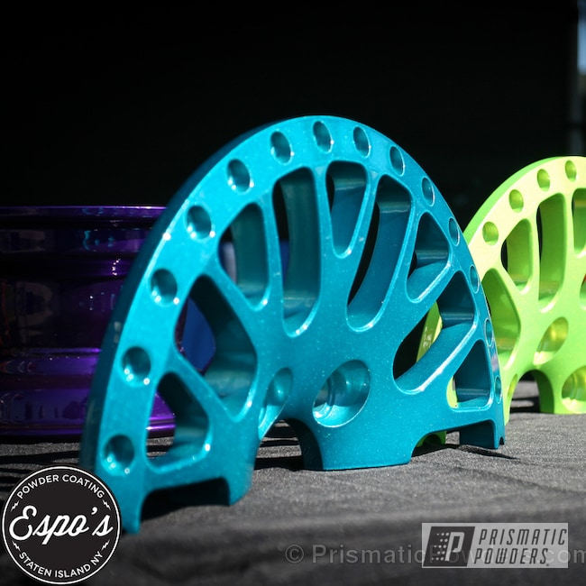Powder Coating: Wheels,Heavy Silver PMS-0517,CCW custom powder coated wheels,Shocker Yellow PPS-4765,Cortez Teal PPS-4477